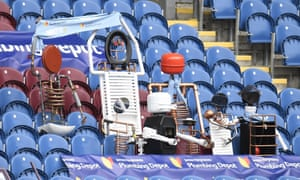 Model fans made of plumbing supplies seen in the stands before the English Premier League soccer match between Burnley and Arsenal at Turf Moor stadium in Burnley, England, Saturday, March 6, 2021.