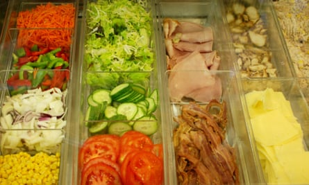 Food, including ham, salad, and cheese, in the Guardian canteen.