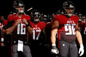 Falcons players gather in the tunnel before kick-off.