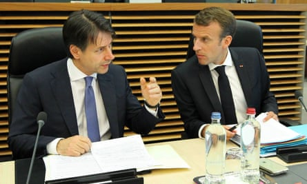 The Italian prime minister, Giuseppe Conte with the French president, Emmanuel Macron