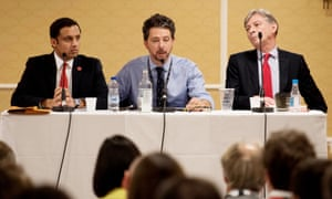Richard Leonard (right) and Anas Sarwar (left) at a Daily Record hustings in Brighton chaired by Torcuil Crichton (centre).