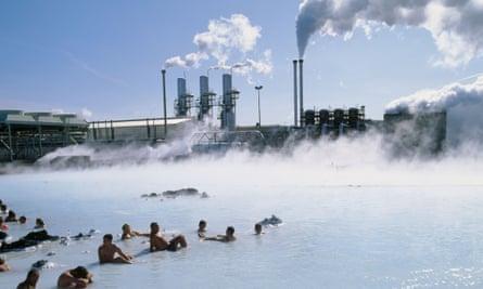 A geothermal power plant at Grindavík, Iceland.