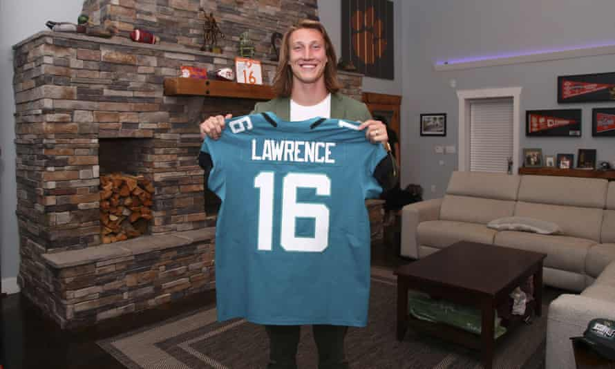 Trevor Lawrence followed the draft from his family home