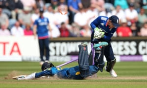 Kusal Mendis is run out by Jonny Bairstow.