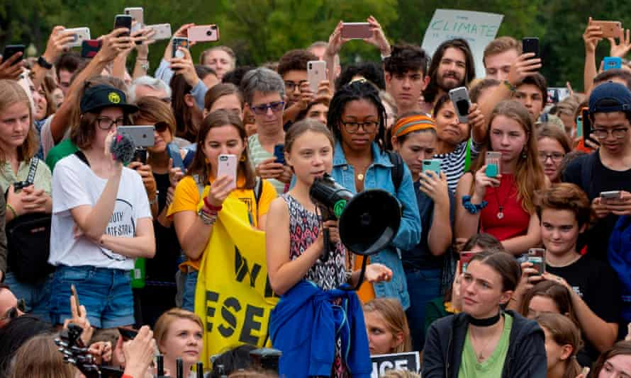 Swedish environment activist Greta Thunberg speaks at a climate protest outside the White House