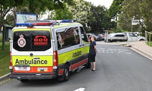 An ambulance is seen at the entrance to the Holy Spirit Nursing Home Carseldine in Brisbane on Wednesday.