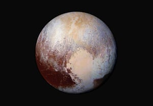 Images captured by the New Horizons spacecraft are combined and enhanced to show differences in the composition and texture of Pluto's surface