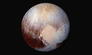 The far edge: a combination of images of Pluto captured by the New Horizons spacecraft with enhanced colours to show differences in the composition and texture of the planet's surface.