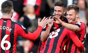 Ryan Fraser, right, is congratulated after scoring.