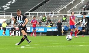 Ryan Fraser fires the ball past the Blackburn goalkeeper, Thomas Kaminski, to score his first goal for Newcastle.
