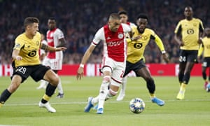 Hakim Ziyech (centre) is arguably Ajax's most creative player, cutting inside on his left foot from the right wing.