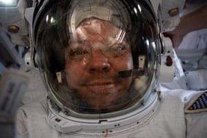 Nasa astronaut Bob Behnken taking a selfie.
