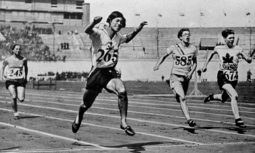 Japan's Kinue Hitomi winning a 100m qualifying heat at the 1928 Olympics Games in Amsterdam. Hitomi helped break a major barrier in women's sport by winning the first silver in 800m final.