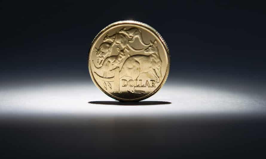 An Australian one-dollar coin, Sydney, Australia, April 17, 2013.