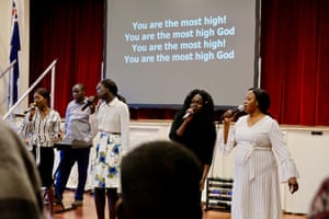 Worshippers at the Victory Grace church in Albion.