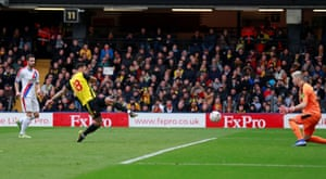 Watford's Andre Gray scores their second goal.