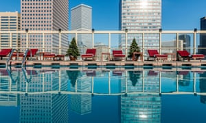 Rooftop swimming pool at the Warwick Denver Hotel. Colorado. USA