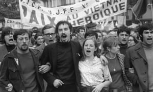 Young demonstrators shout slogans against the Vietnam war in Paris, May 1968.