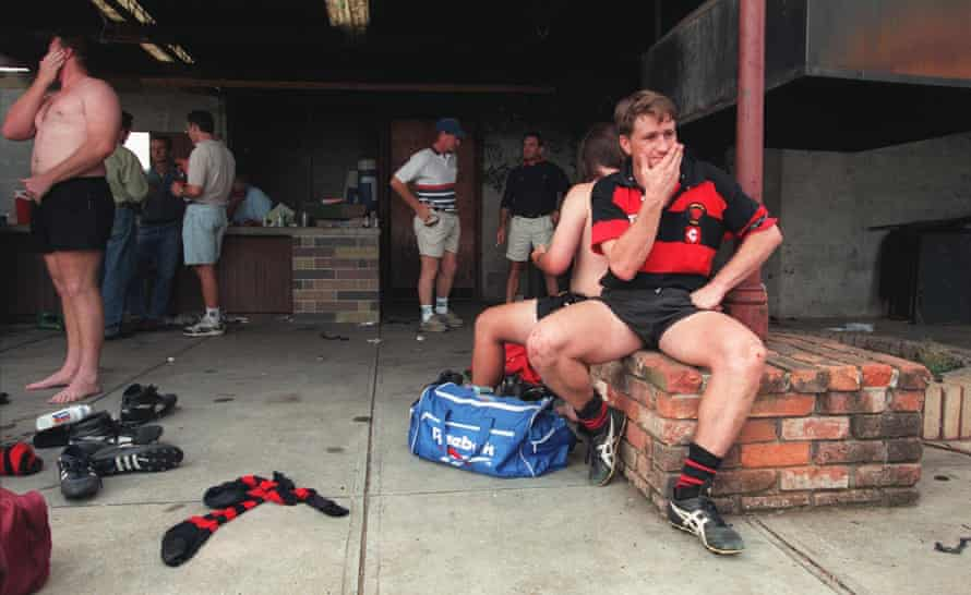 Steve Merrick in the Singleton dressing room after a game, 30 March 1996.