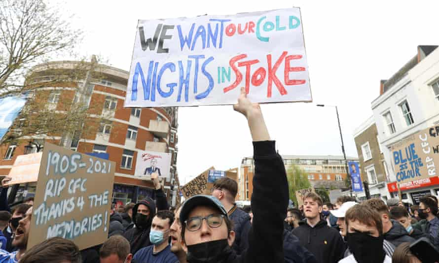 "Chelsea fans protest on Monday with a placard that caught the eye of officials at the National Museum of Football as ""inadvertent football history""."