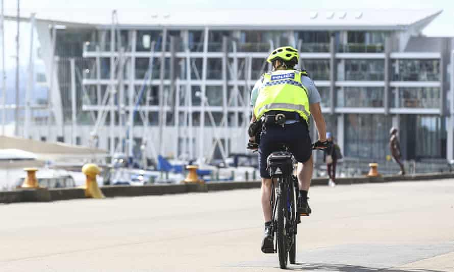 A police officer on patrol during the first day of a nationwide lockdown in Wellington, New Zealand.