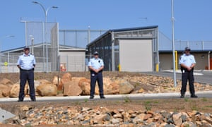 Federal police outside Yongah Hill immigration detention centre in Western Australia.