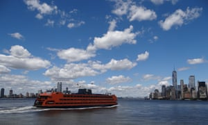 The Staten Island ferry heads for Manhattan