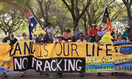 An anti-fracking protest outside the Northern Territory parliament in 2015.