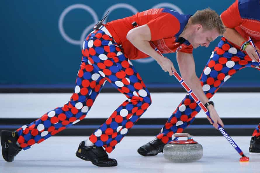 Norway's Christoffer Svae brushes in front of the stone during the Pyeongchang 2018 Winter Olympic Games