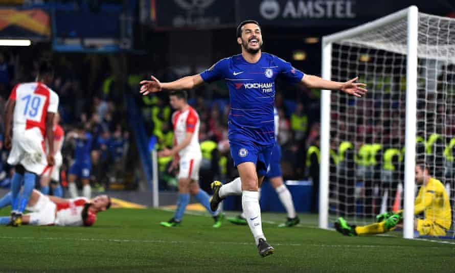 Chelsea's Pedro celebrates his second goal in the 4-3 Europa League win over Slavia Prague at Stamford Bridge.