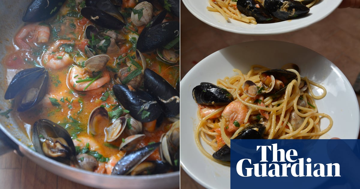 Rachel Roddy's recipe for linguine with clams, squid (and/or prawns), mussels and tomato