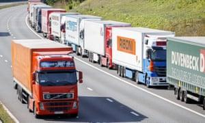 Lorries on M20 in Kent