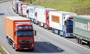 Lorries stacked on M20 in Kent