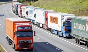 Lorries on their way to Channel tunnel in Kent