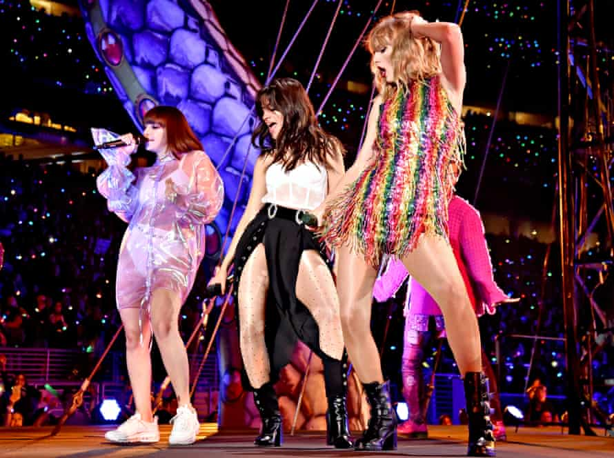 Charli XCX, Camila Cabello, and Taylor Swift perform on stage during Taylor Swift's reputation tour in Santa Clara, California