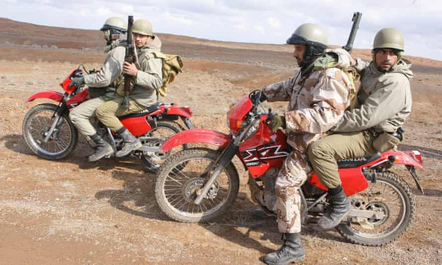 Revolutionary guards in wargames near Qom, south of Tehran.