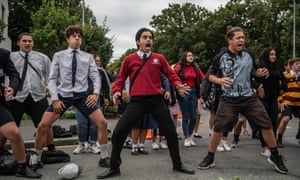 Students perform the Tahu Pōtiki haka near Al Noor mosque in Christchurch on Monday.