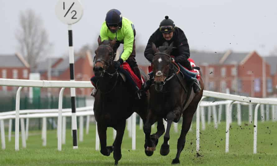 Epatante (left) and Altior on the gallops at Newbury.
