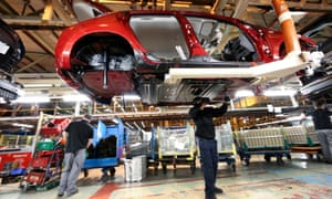 The production line at Nissan Motor Co.'s vehicle assembly plant in Sunderland.
