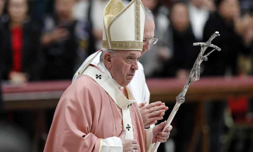 Pope Francis leading a Mass in Saint Peter's Basilica