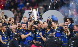 Isa Nacewa and Jordi Murphy of Leinster lift the trophy after the European Rugby Champions Cup Final.