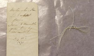 """Several strands of gray or whitening hair, neatly tied together by a single thread, were found in an envelope. John Reznikoff, a prominent manuscripts and documents dealer in Westport, Conn. said the hair is """"undoubtedly Washington's."""""""