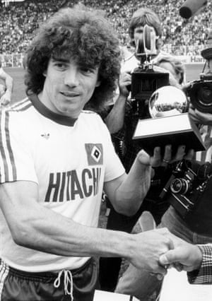 Keegan receives his second consecutive European Footballer of the Year award, while playing for Hamburg in May 1979.