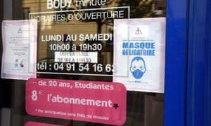 A sign reminding the public about wearing protective masks in Marseille, France, 18 Jul 2020.