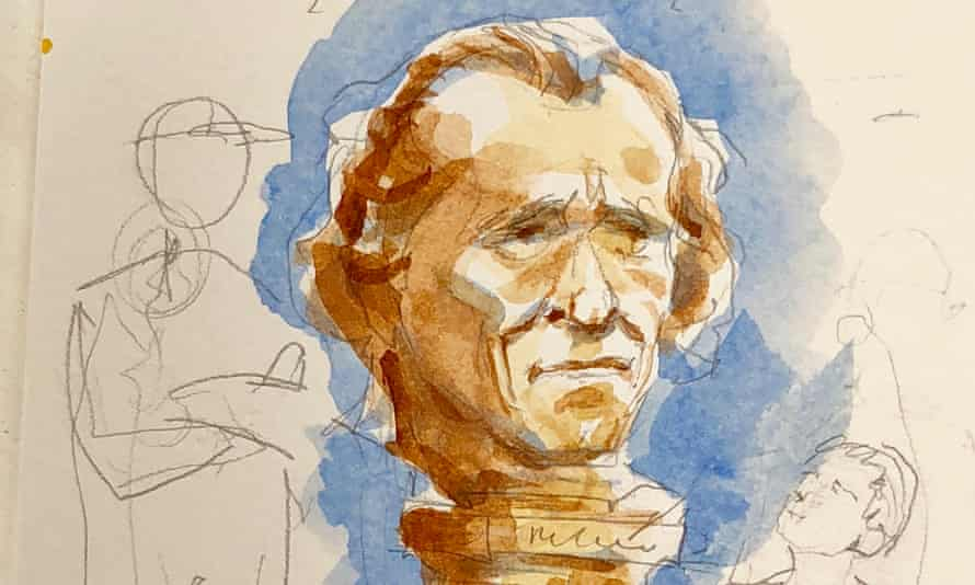 A sketch of a possible sculpture honoring Charles Bukowski.