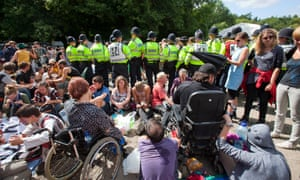 An anti-fracking protest at Balcombe in West Sussex, England, in 2013.