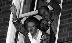 Margaret Thatcher waves to supporters from a window of the Conservative's former central office after her 1987 election victory