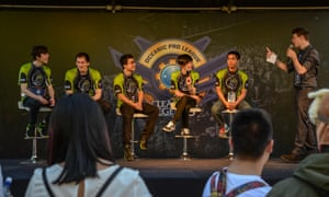 James 'Tally' Shute, Tim 'Carbon' Wendel, Aaron 'ChuChuZ' Bland, Calvin 'K1ing' Truong and Mike 'Cuden' Le of Team Legacy, during a Q&A session at the League of Legends Oceanic Pro League grand final