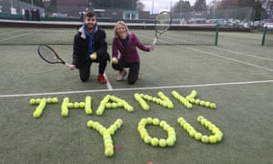 A message from the Dunblane Tennis Club spells out 'thank you' in tennis balls.