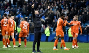 Nathan Jones salutes the travelling Luton fans